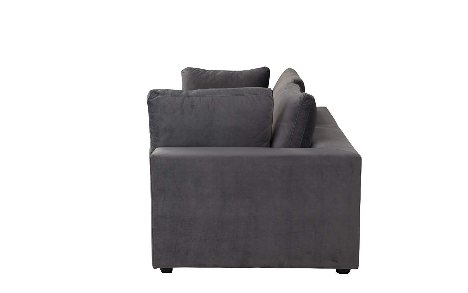 Classic Living Room Velvet Loveseat Couch Dark Grey