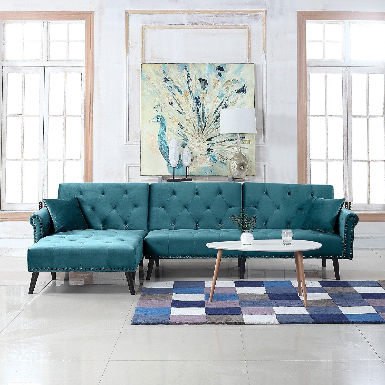 Contemporary Modern Velvet Sleeper Futon Sofa, Mid Century ...