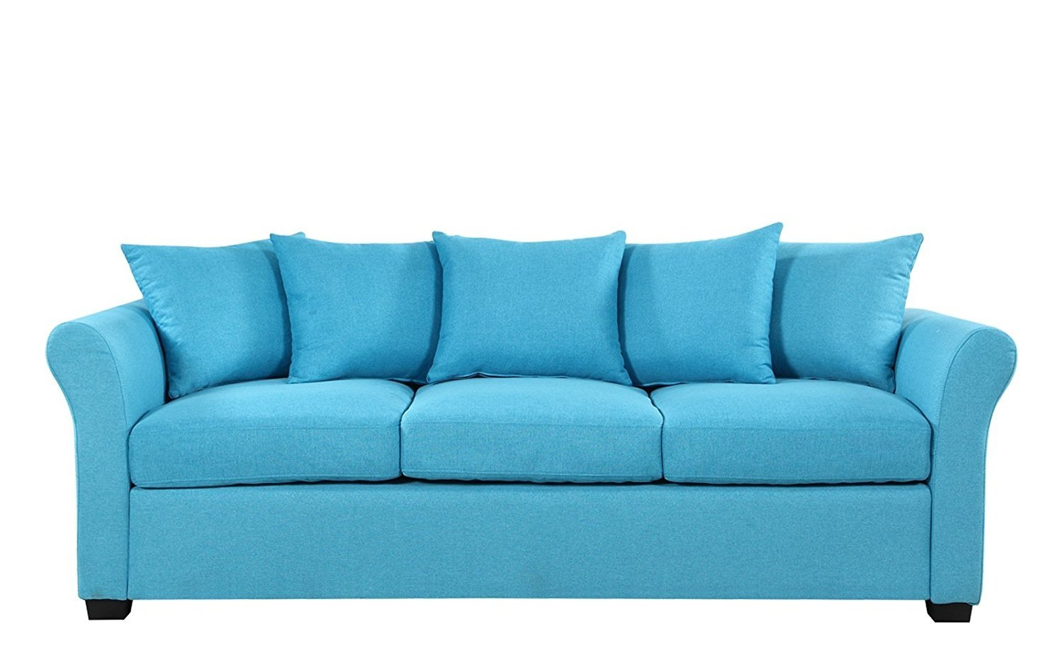 Details About Classic Comfortable Linen Fabric Sofa For Modern Living Room  Family Room, Blue