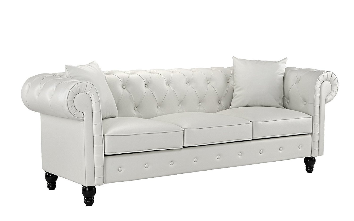 Classic Living Room Bonded Leather Scroll Arm Chesterfield Sofa ...