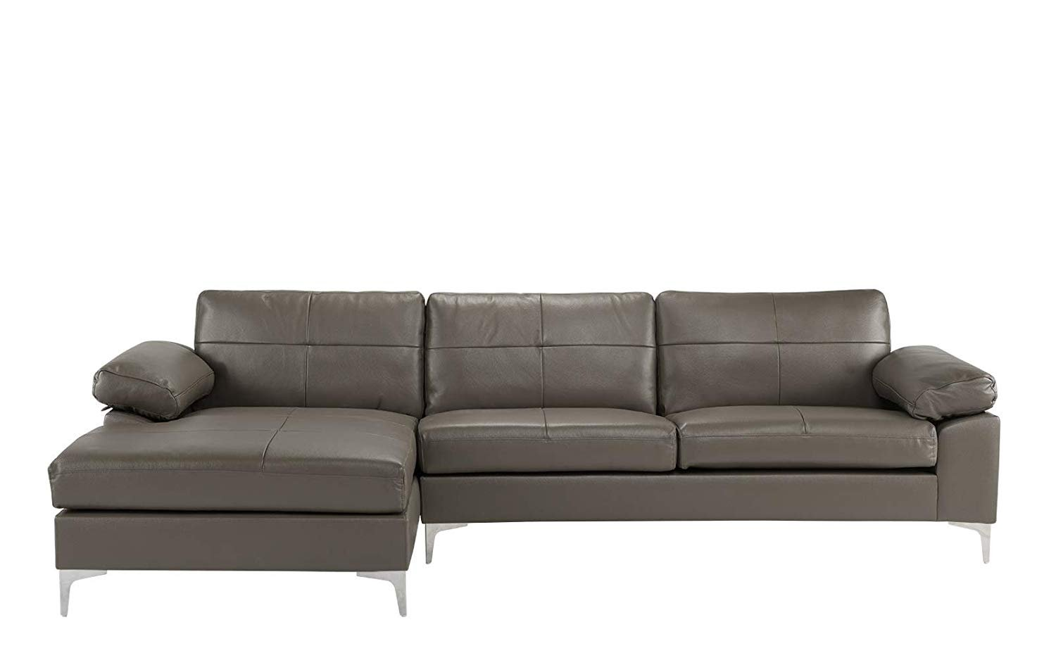 Details about Leather Sofa, Sectional L-Shape Couch with Chaise, Grey