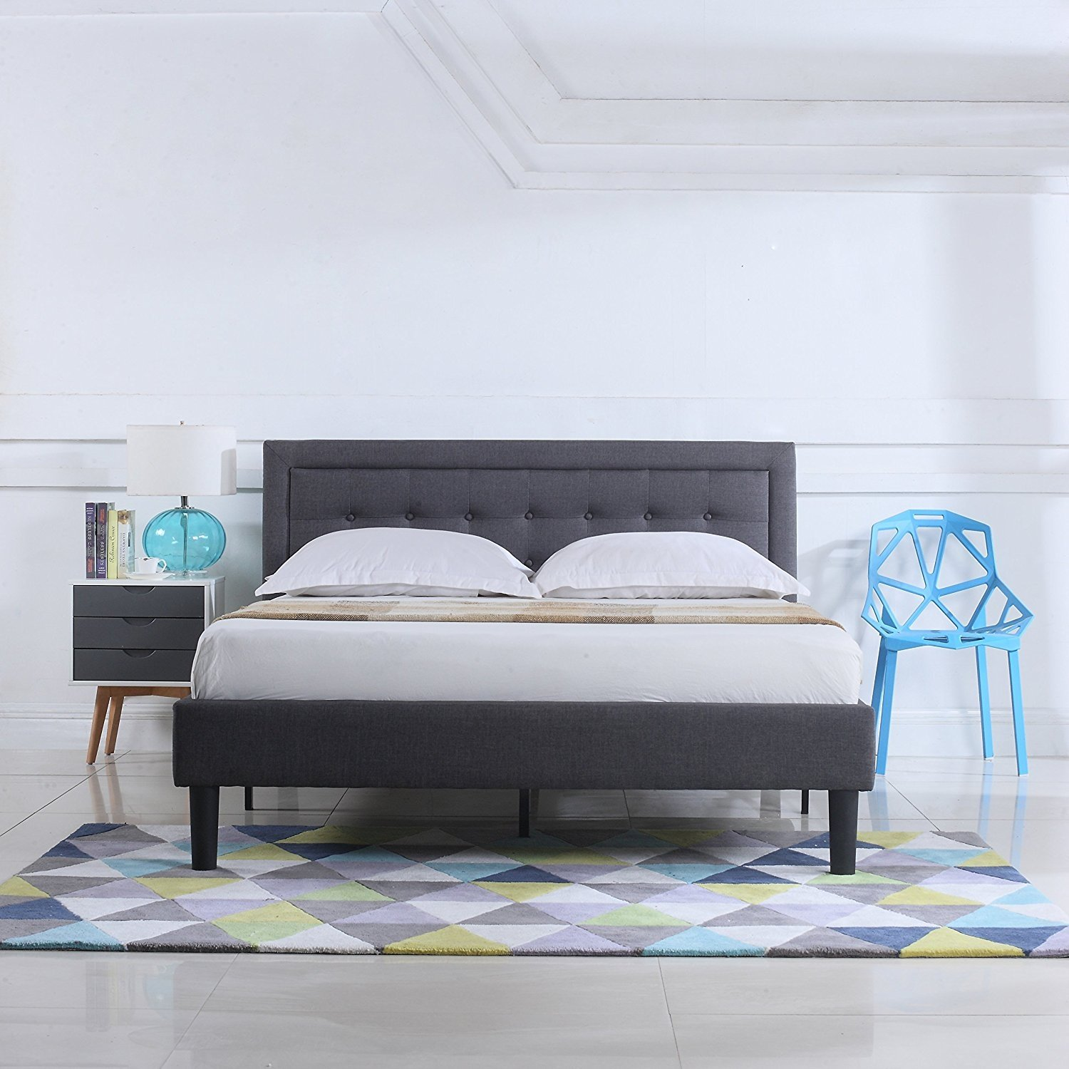 Classic Deluxe Low Profile Platform Bed Frame With Nailhead Trim