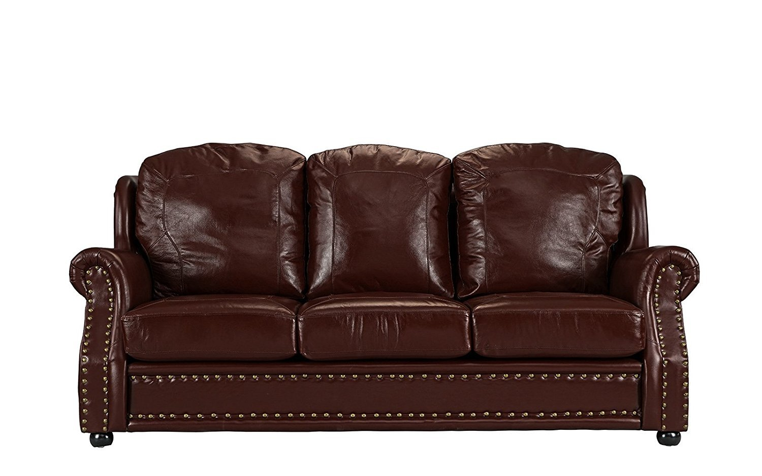 Leather Sofa 3 Seater, Living Room Couch, Nailhead Trim (Dark Brown ...