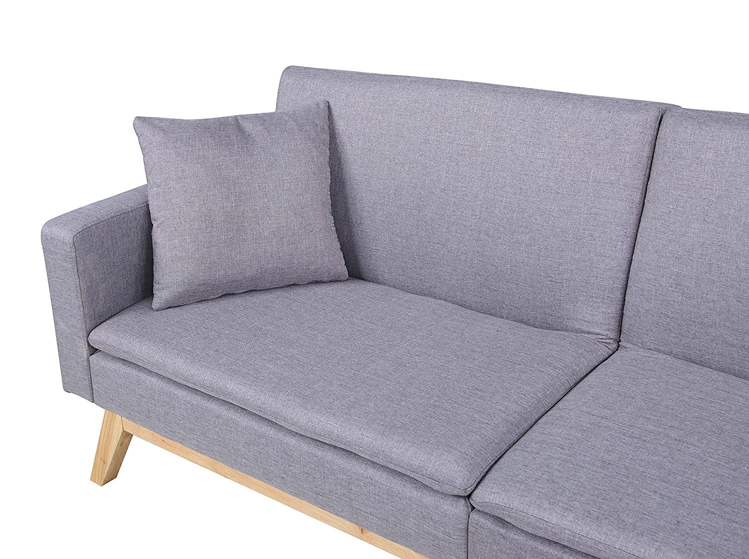 Cool Details About Light Grey Contemporary Split Back Futon Sofa With Low Profile Wooden Frame Legs Squirreltailoven Fun Painted Chair Ideas Images Squirreltailovenorg
