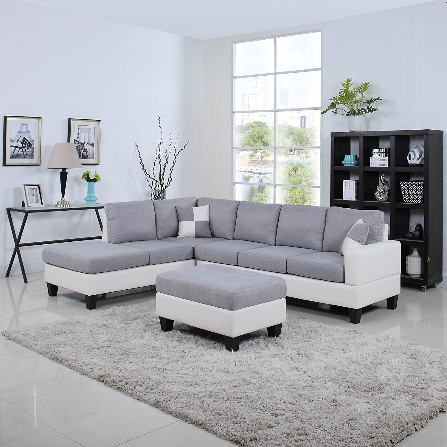 Details about Classic 2 Tone Large Fabric/ Bonded Leather Sectional Sofa,  Light Grey/White