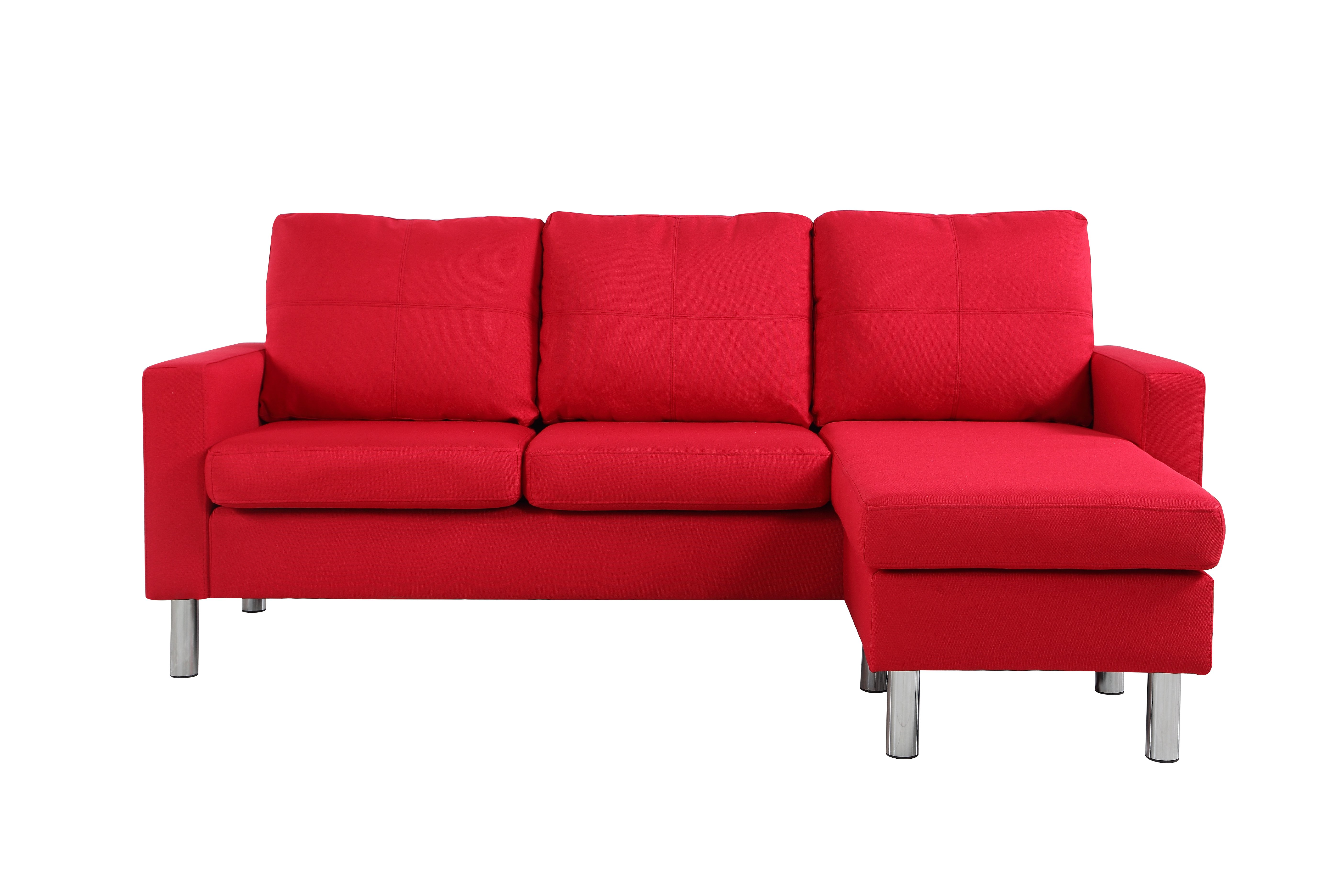 Modern-Living-Reversible-Linen-Fabric-Sectional-Sofa-Small-Space-Red thumbnail 2