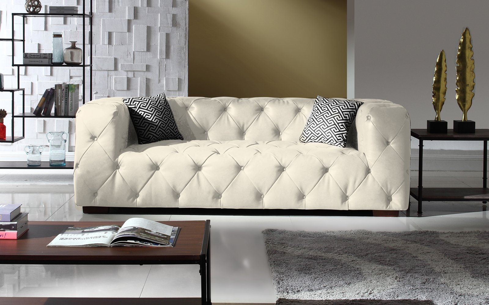 Details about Large Tufted Italian Leather Chesterfield Sofa, Classic  Living Room, Off White