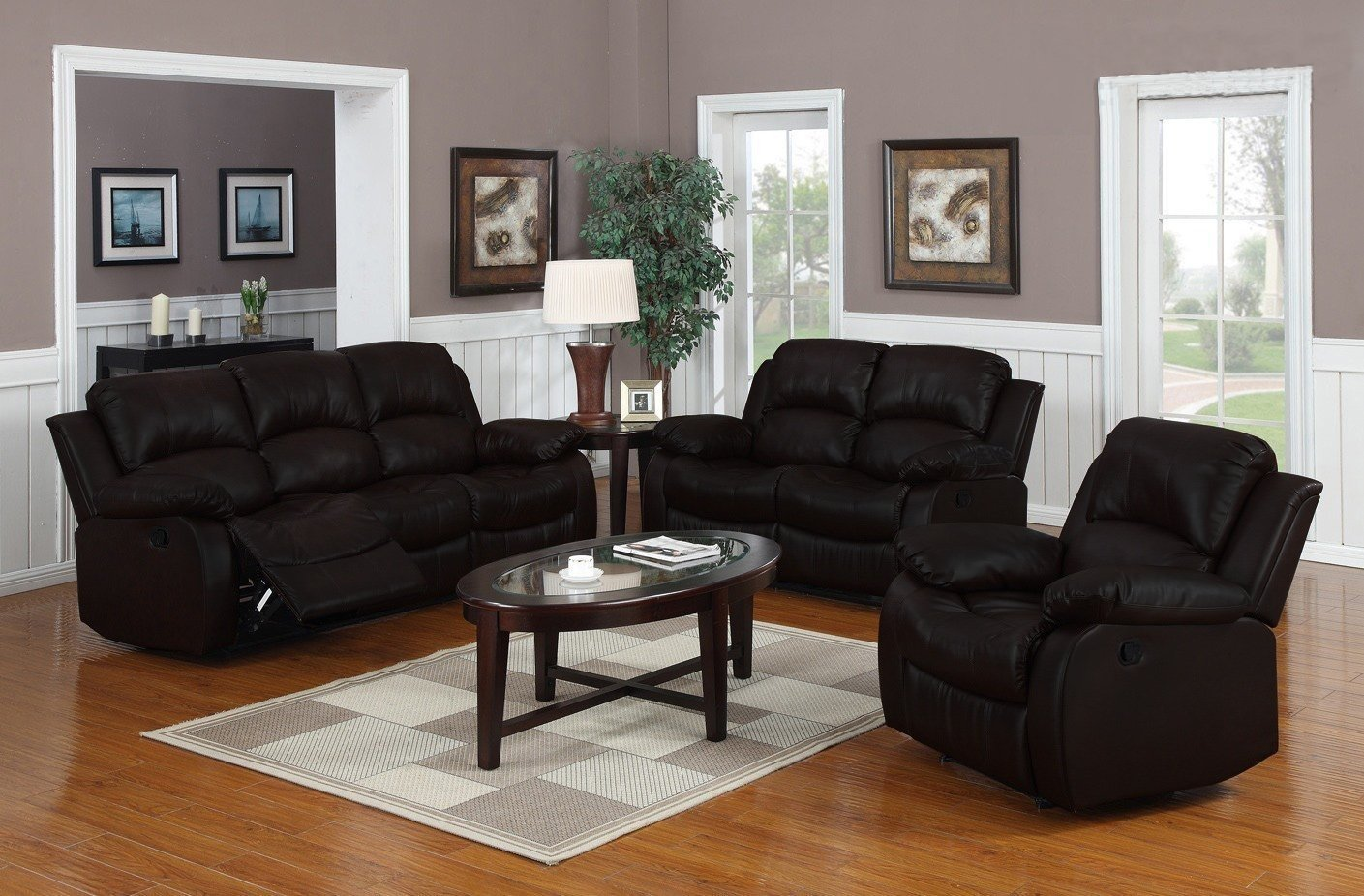 Traditional 3 Pc Reclining Sofa Set Real Grain Leather Double