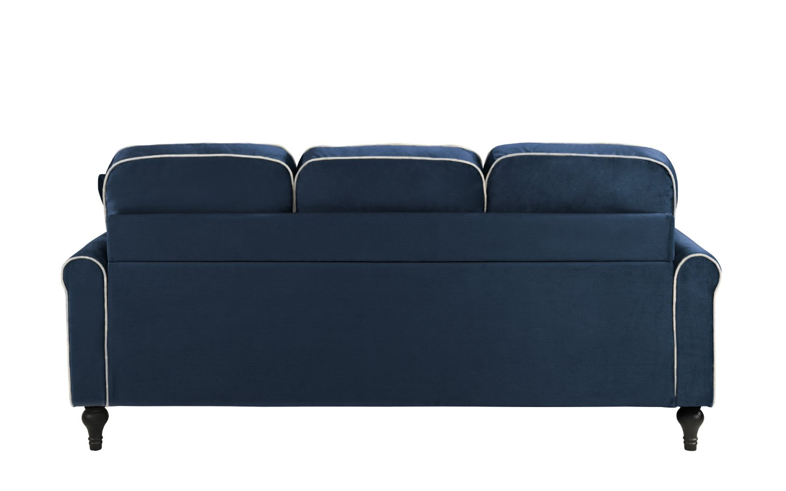Blue Small Space Velvet Upholstered Sectional Sofa With