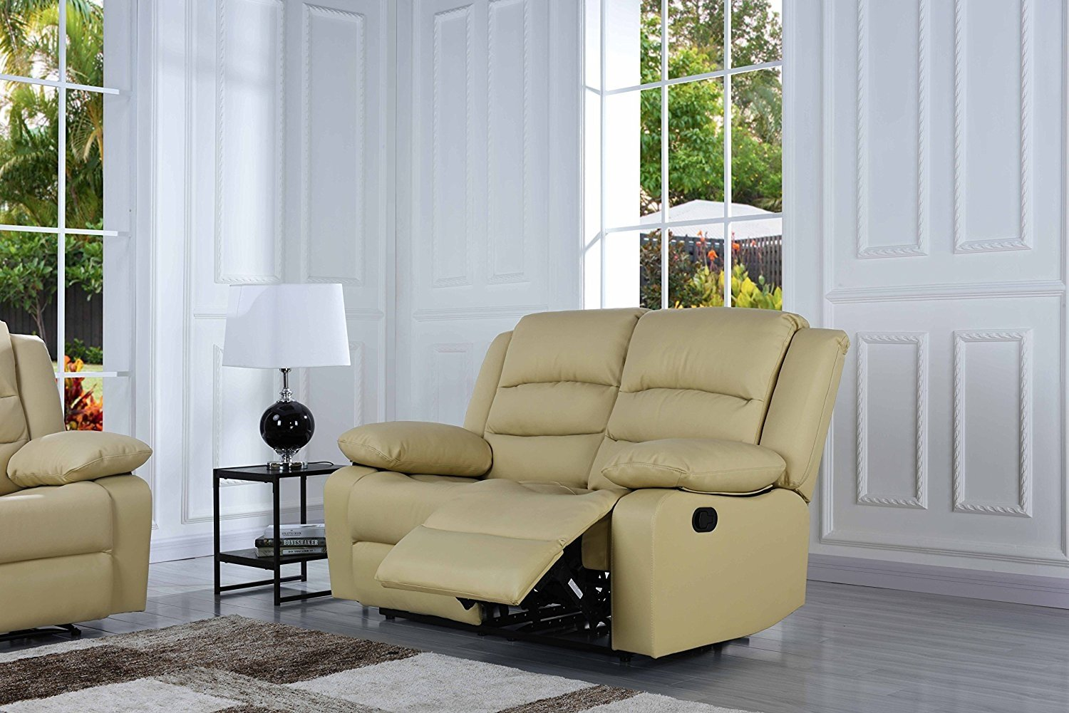 Cool Details About Classic 3 Pc Reclining Sofa Set Real Grain Leather Double Recliner Beige Gmtry Best Dining Table And Chair Ideas Images Gmtryco