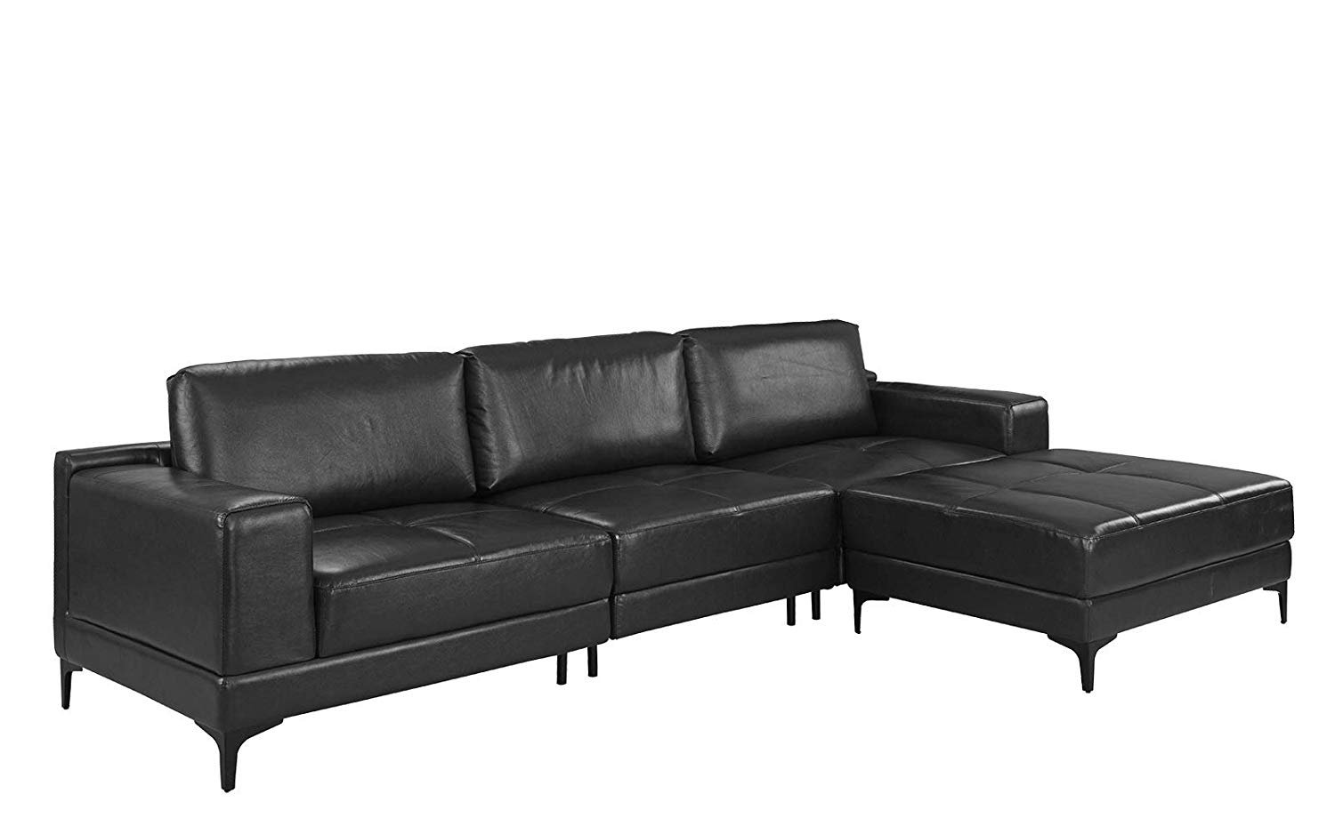 Details About Modern Leather Sectional Sofa 114 9 Inch Living Room L Shape Couch Black
