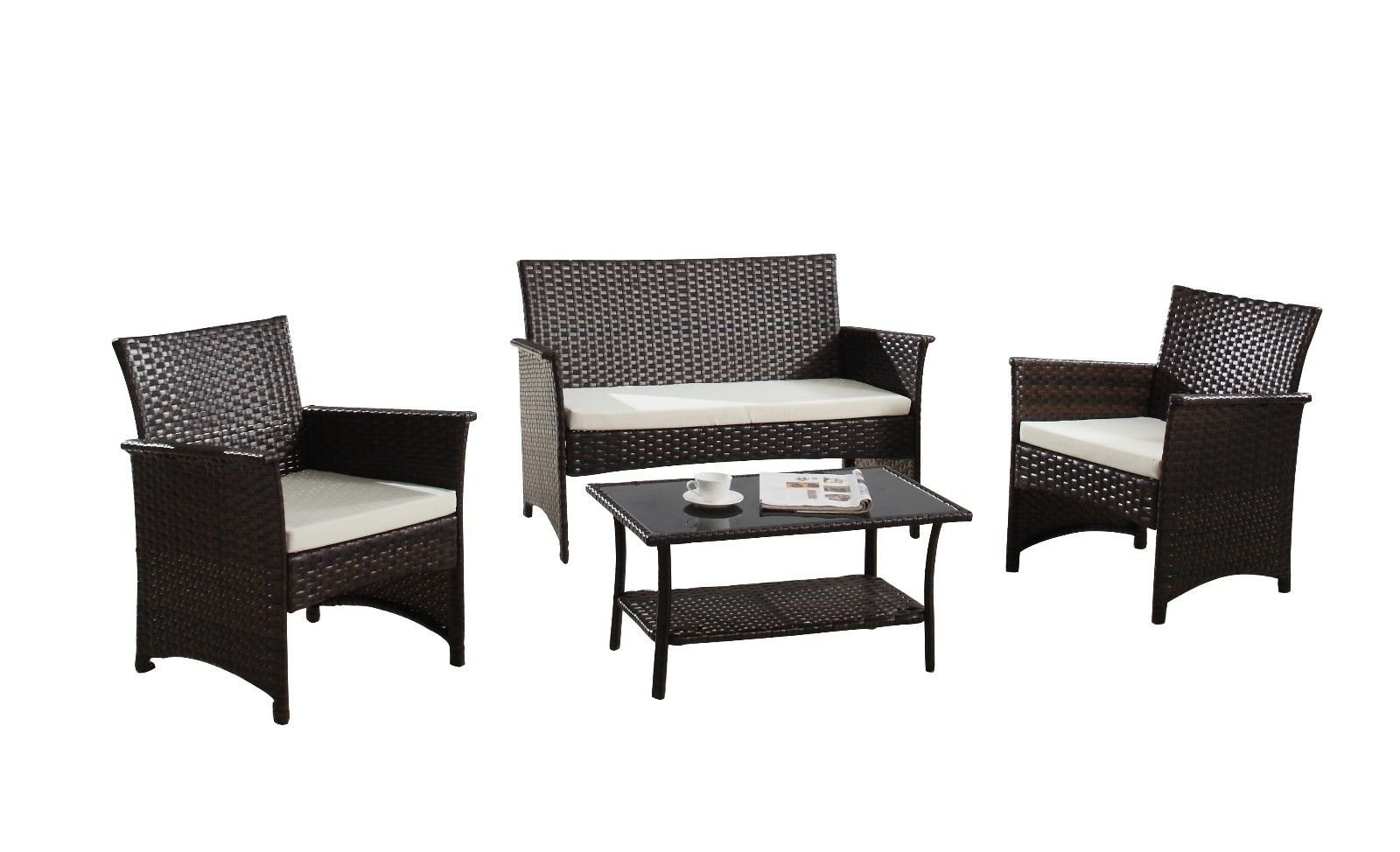 Details about Modern Contemporary Outdoor 4 Piece Patio Rattan Furniture  Set, Brown