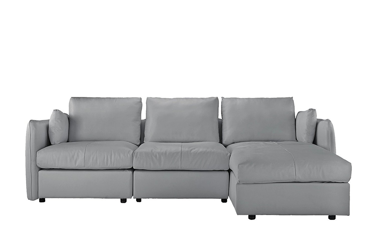 L-Shape Couch Living Room Leather Sectional Sofa with ...