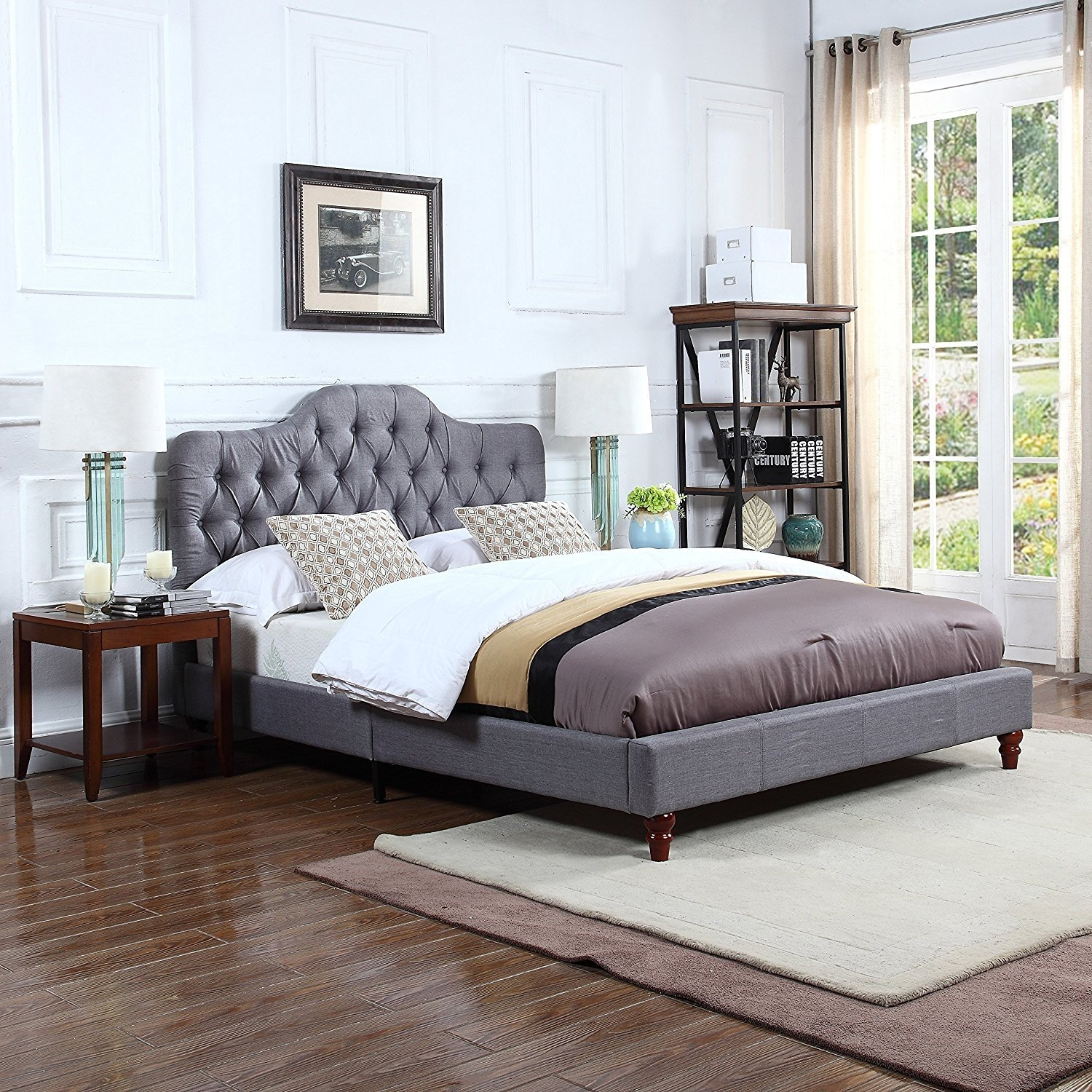 more photos 8b5c7 3c274 Details about Classic Grey Tufted Fabric Headboard with Low Profile Bed  Frame (Queen Size)