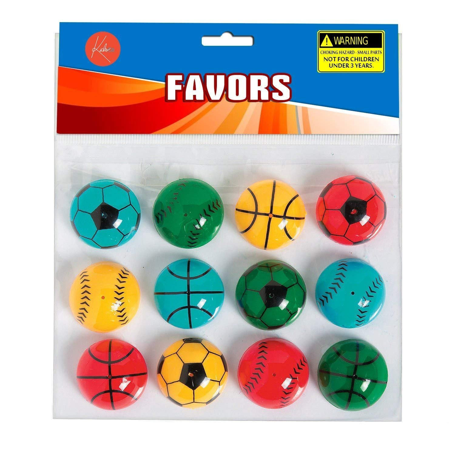 For Kids Great Party Favors Pack Of 12 Bag Stuffers Assorted Vibrant Colors Sports Balls Designed Poppers Prize Toy Fun Pi/ñata Fillers Sports Pop Up Poppers 1.25 Inches Gift Kayco USA