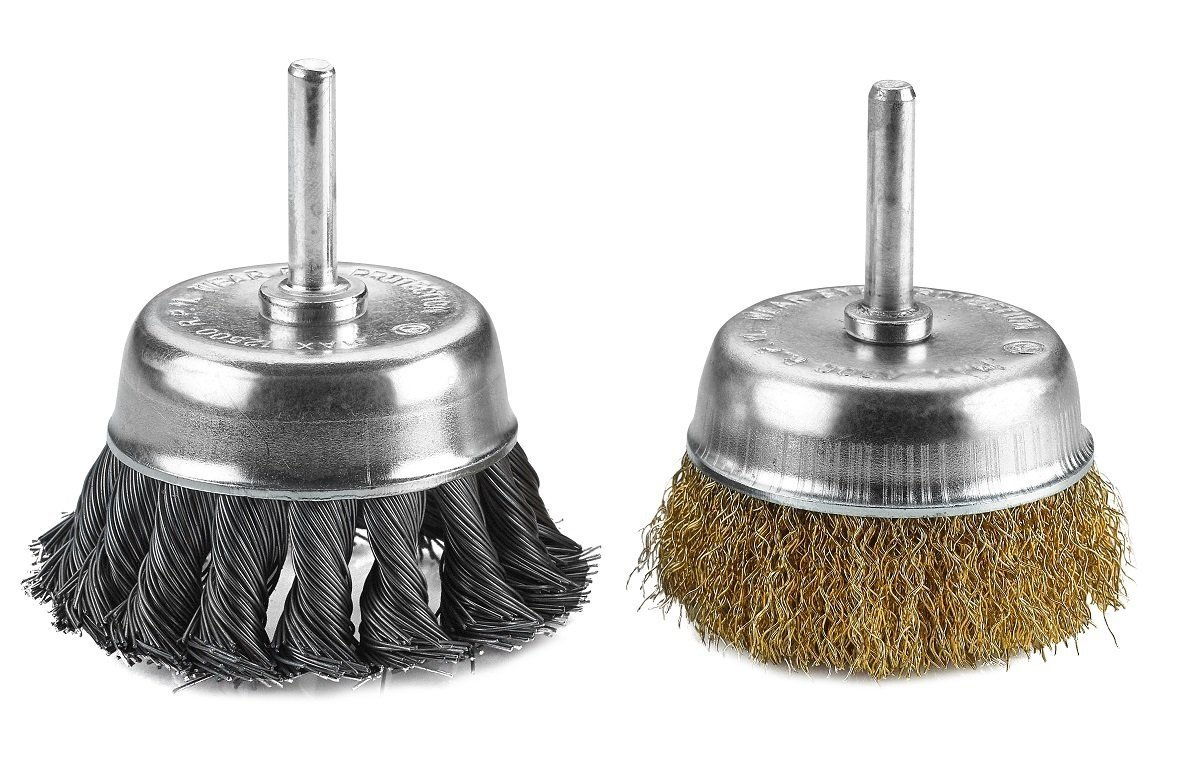 Corrosi Katzco Wire Wheels Brush 2  Knotted And Crimped Cups For Rust Removal